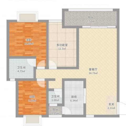 傣泐金湾三期悦江苑2室2厅2卫1厨113.00㎡户型图