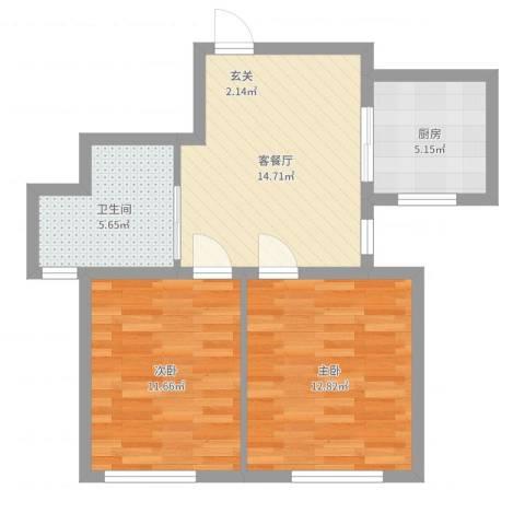 华夏山海城2室2厅1卫1厨62.00㎡户型图