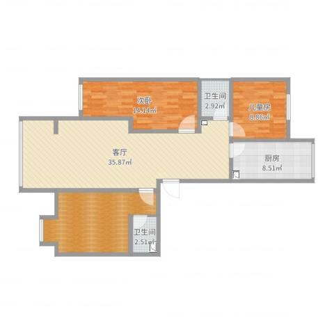 魏公村小区2室1厅2卫1厨110.00㎡户型图