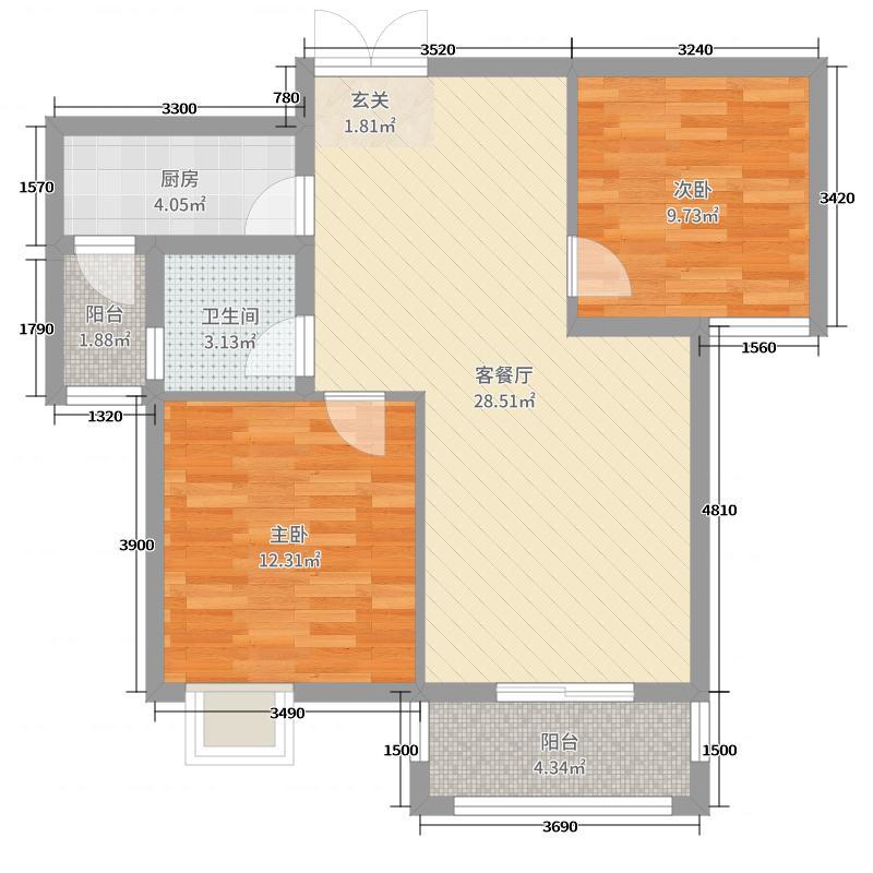 欣华理想城88.00㎡03户型2室2厅1卫1厨