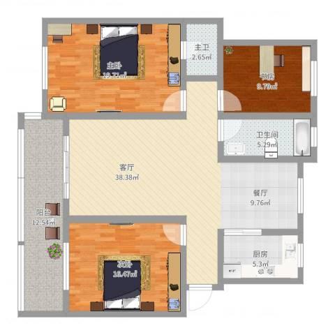 和美家园3室1厅1卫1厨110.12㎡户型图
