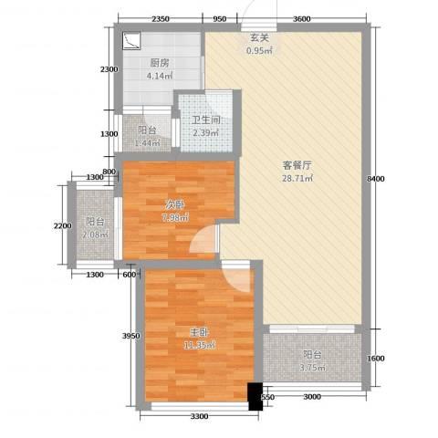 永鸿厦门湾1号2室2厅1卫1厨72.00㎡户型图