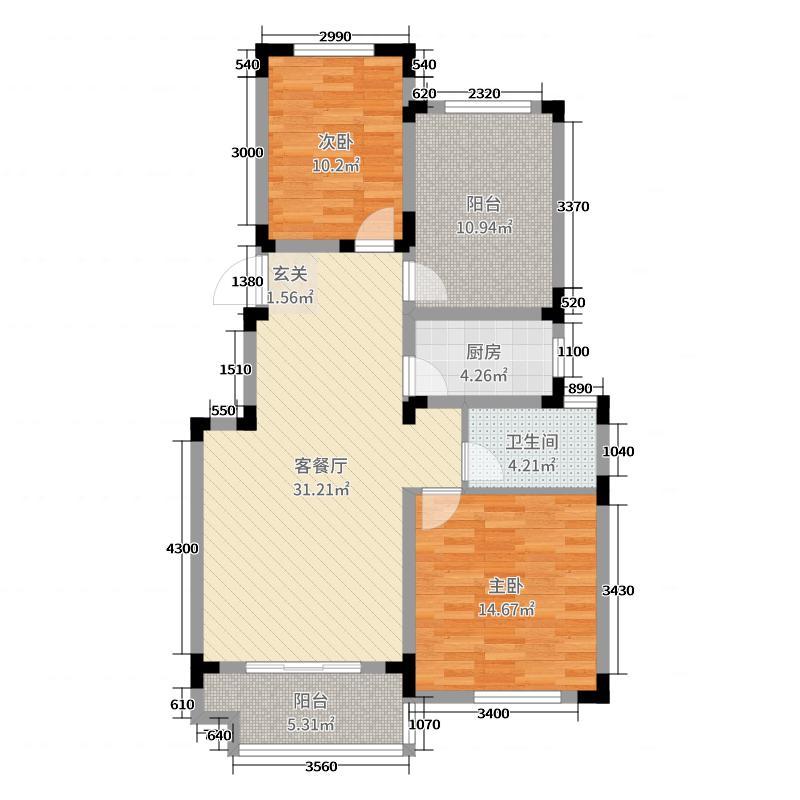 世界名城101.00㎡B-户型3室3厅1卫1厨