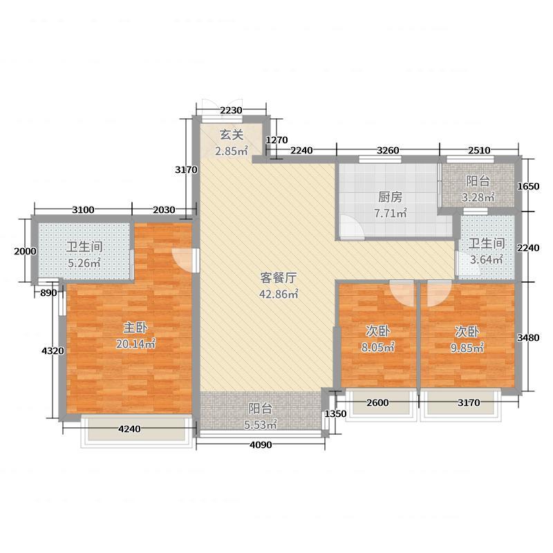 东逸湾126.00㎡1/2座03单元户型3室3厅2卫1厨