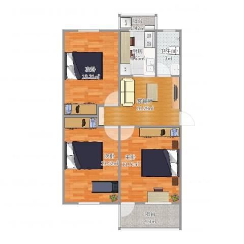 市一院宿舍3室2厅1卫1厨80.00㎡户型图