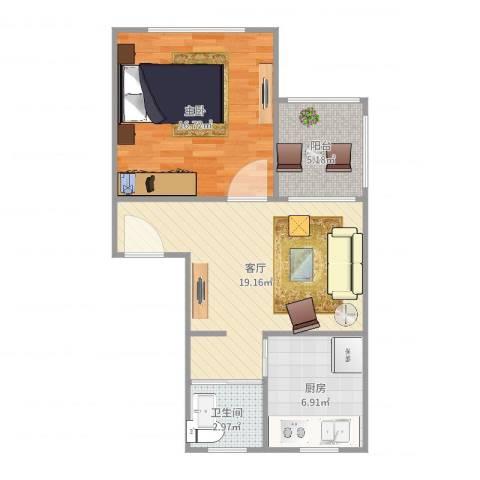 万馨佳园1室1厅1卫1厨64.00㎡户型图