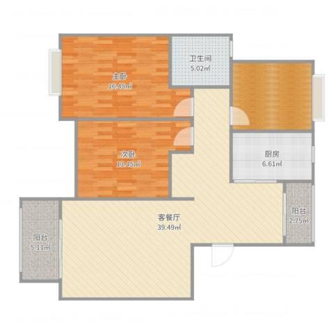 万祥馨苑2室2厅1卫1厨123.00㎡户型图