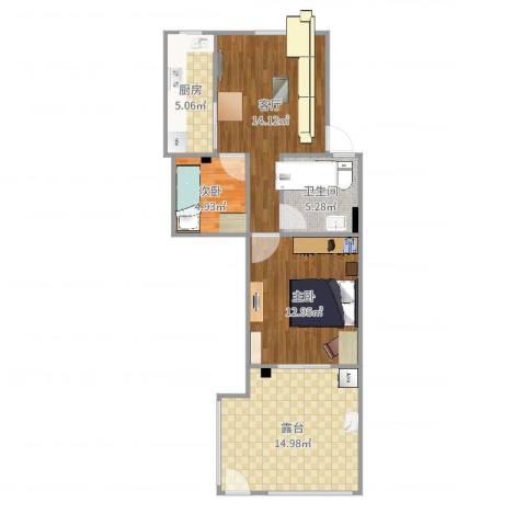 万馨佳园2室1厅1卫1厨72.00㎡户型图