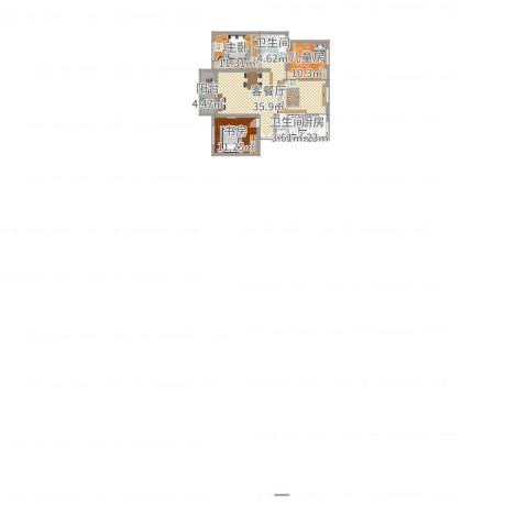 万馨佳园3室2厅2卫1厨107.00㎡户型图
