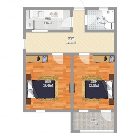 王家宅小区2室1厅1卫1厨61.00㎡户型图