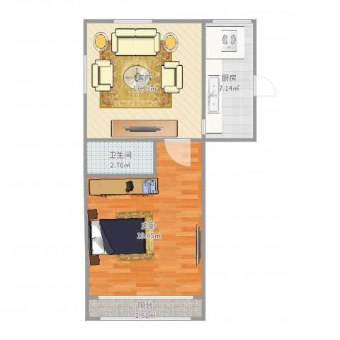 潍坊六村1室1厅1卫1厨61.00㎡户型图