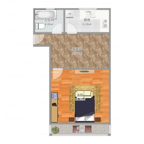 潍坊六村1室2厅1卫1厨59.00㎡户型图