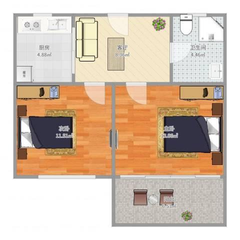 潍坊五村2室1厅1卫1厨61.00㎡户型图
