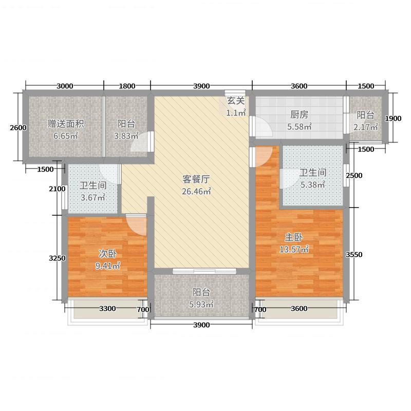 凯�Z清华园127.49㎡D28#9#户型2室2厅2卫1厨