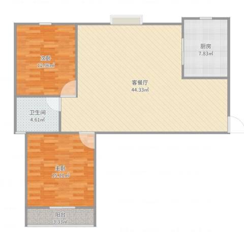 文怡苑2室2厅1卫1厨110.00㎡户型图