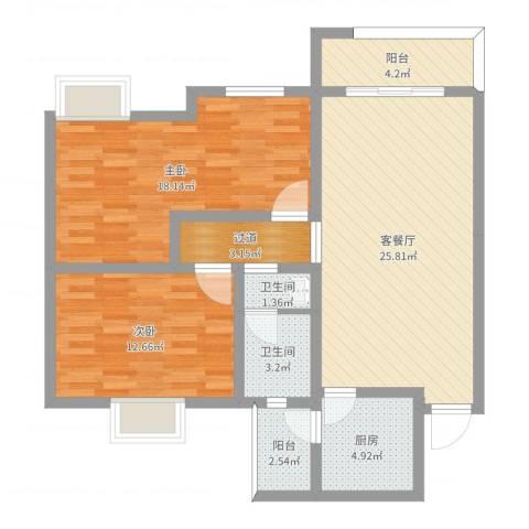龙祥佳苑2室2厅2卫1厨95.00㎡户型图