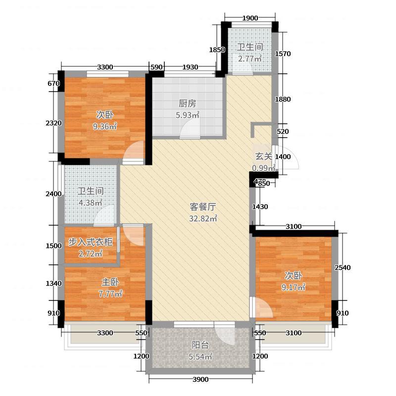 万科翡翠公园105.00㎡户型3室3厅2卫1厨