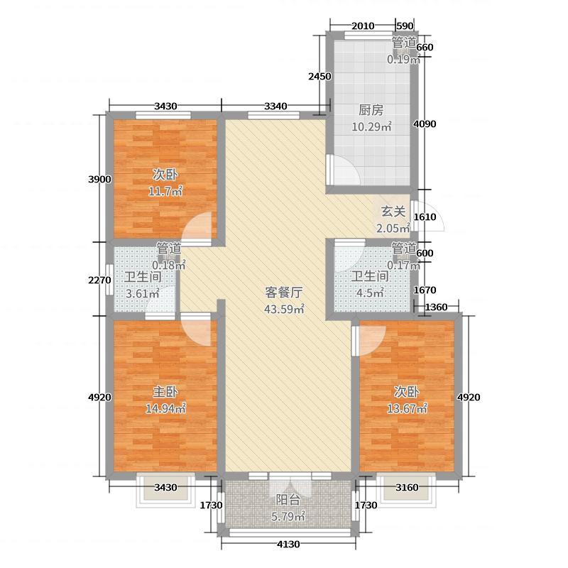 怡荷园135.80㎡2#标准层B户型3室3厅2卫1厨