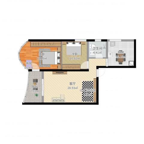 映江花园2室1厅1卫1厨98.00㎡户型图