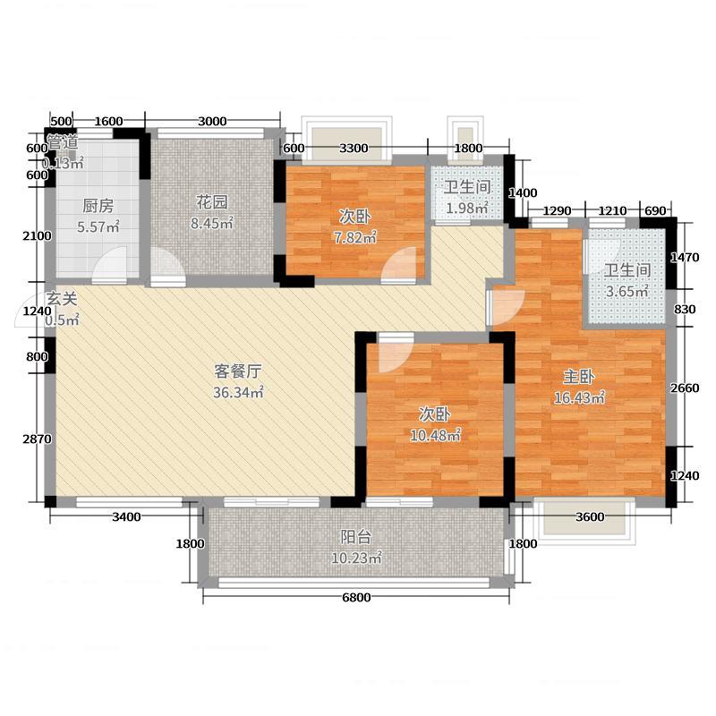新景未来城130.92㎡11栋D户型3室3厅2卫1厨