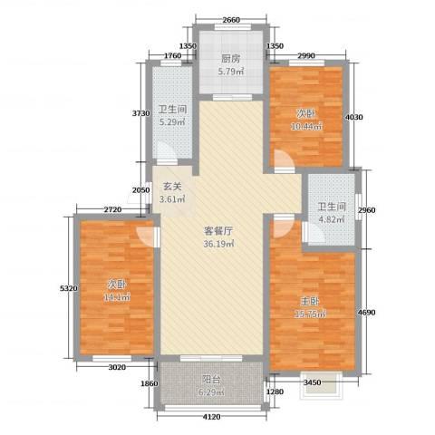 榕城奥运星城3室2厅2卫1厨98.67㎡户型图