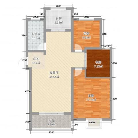 榕城奥运星城3室2厅1卫1厨83.32㎡户型图