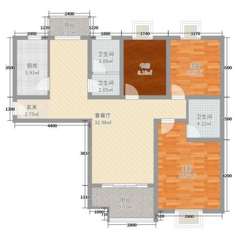 榕城奥运星城3室2厅3卫1厨90.56㎡户型图