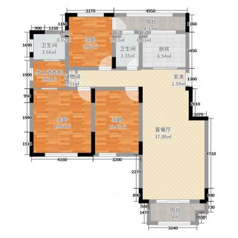 绿地泰晤士新城3室2厅2卫1厨129.00㎡户型图