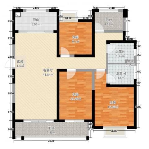 九龙仓时代上城3室2厅2卫1厨140.00㎡户型图