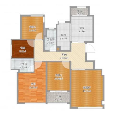 葛洲坝玉兰花园2室3厅2卫1厨133.00㎡户型图