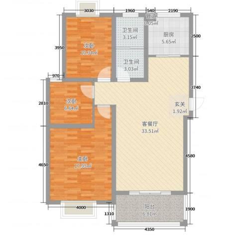 榕城奥运星城3室2厅2卫1厨87.13㎡户型图