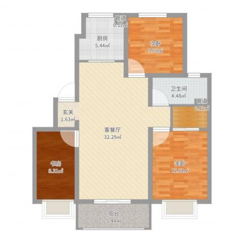 香缇郡3室2厅1卫1厨100.00㎡户型图