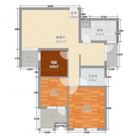 榕城奥运星城3室2厅1卫1厨78.08㎡户型图