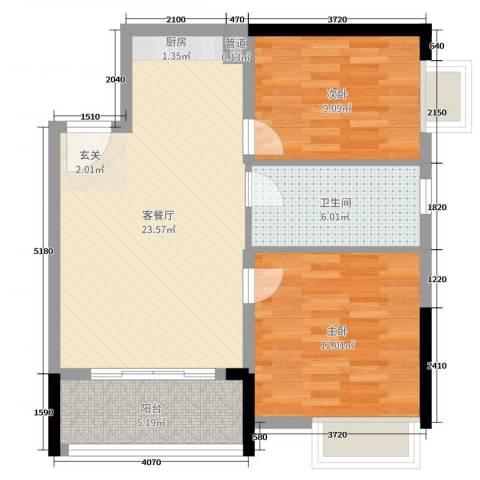 柏丽星寓2室2厅1卫0厨70.00㎡户型图
