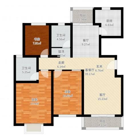 成亿宝盛家苑北块3室2厅2卫1厨127.00㎡户型图