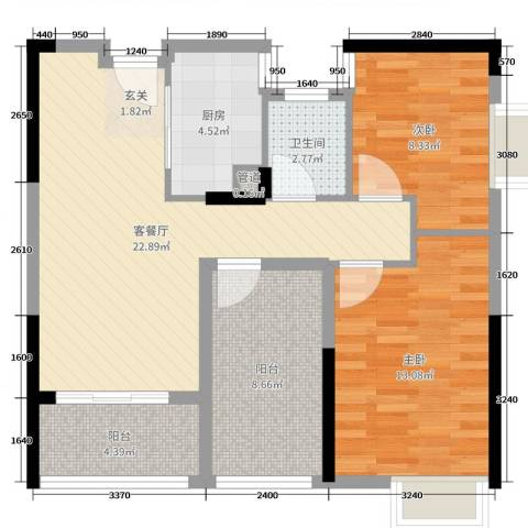 柏丽星寓2室2厅1卫1厨81.00㎡户型图