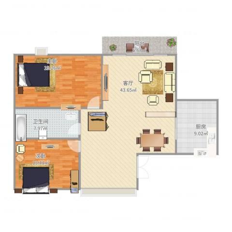清溪花园2室1厅1卫1厨123.00㎡户型图