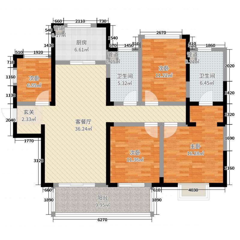 吴江新城吾悦广场137.64㎡一期1#3#标准层D户型4室4厅2卫1厨
