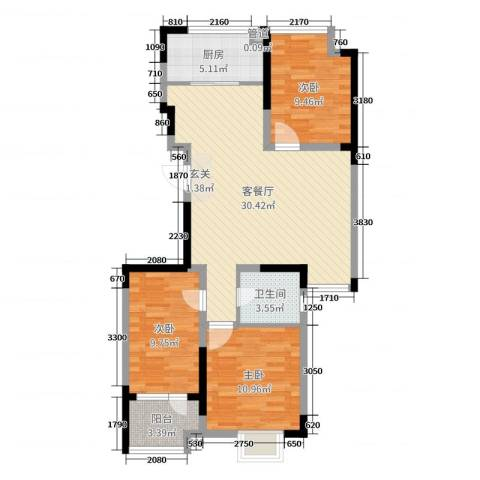 阿尔卡迪亚文承苑3室2厅1卫1厨91.00㎡户型图