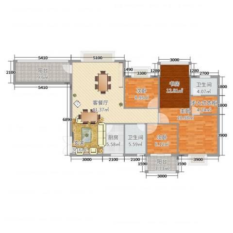 龙凤呈祥3室2厅2卫1厨159.00㎡户型图