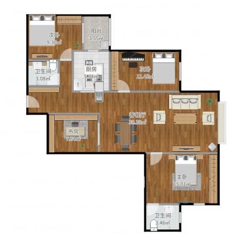 南湖东园一区4室2厅2卫1厨122.00㎡户型图