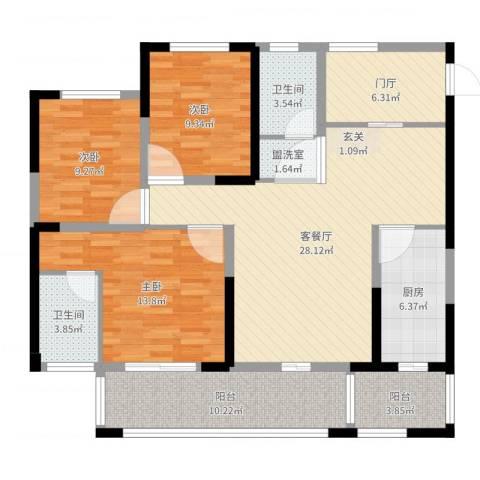 城南春天3室4厅2卫1厨120.00㎡户型图