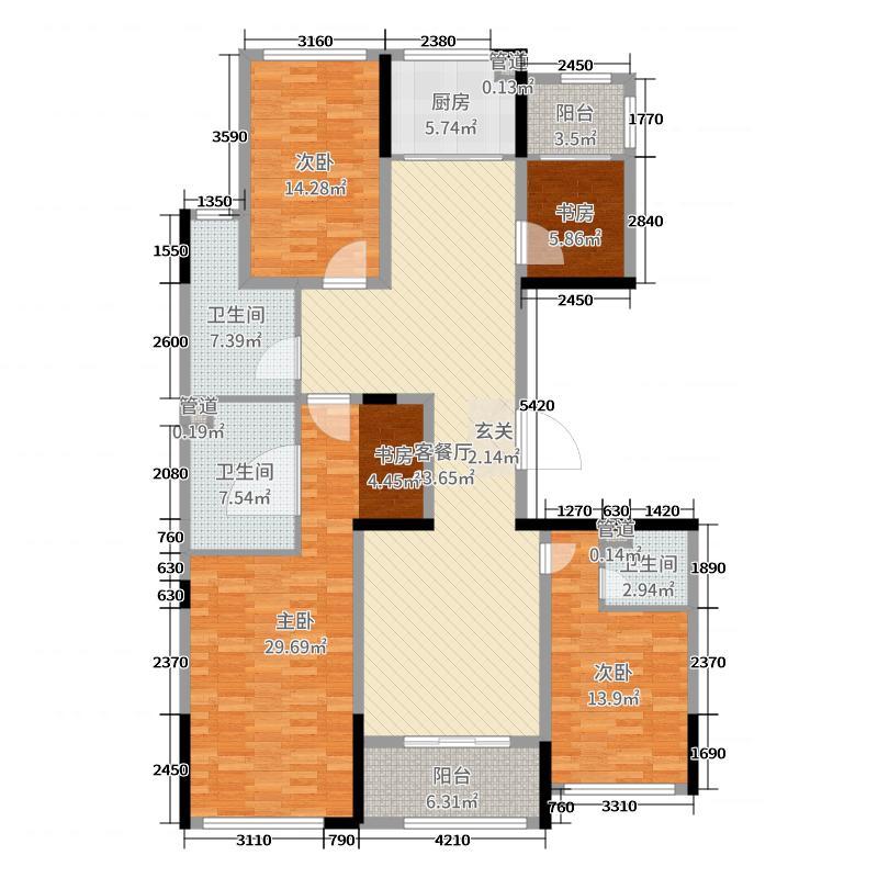 绿城・紫薇公馆177.00㎡G4户型4室4厅3卫1厨