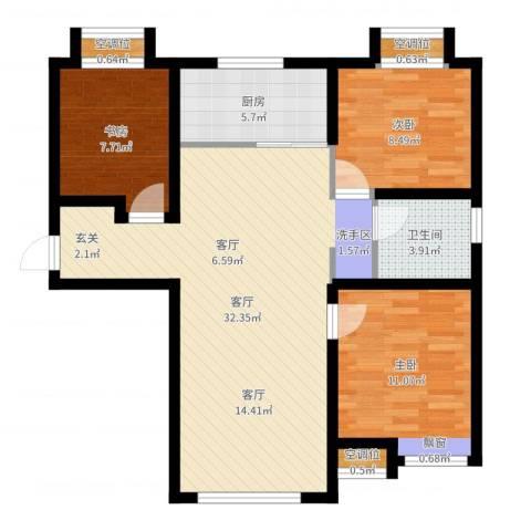 远洋红熙郡3室1厅2卫3厨70.99㎡户型图