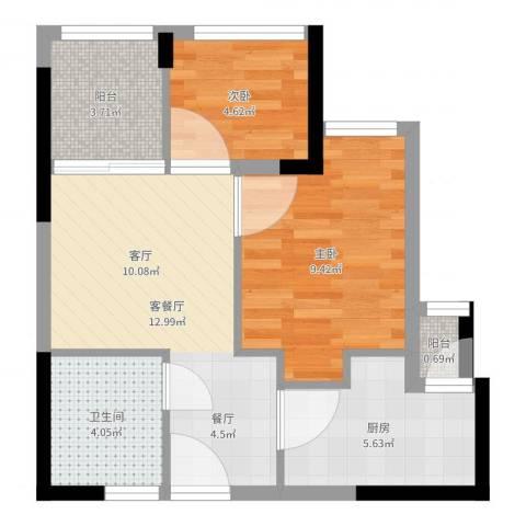 东原D8公馆2室2厅1卫1厨51.00㎡户型图