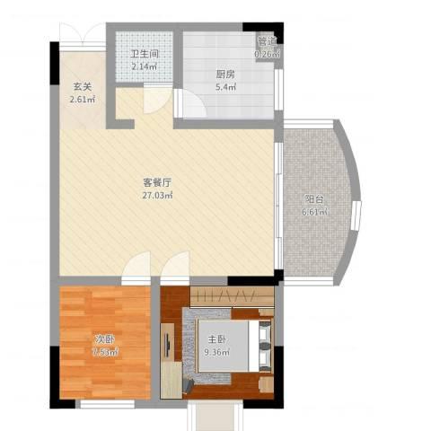 江南人家2室2厅1卫1厨73.00㎡户型图