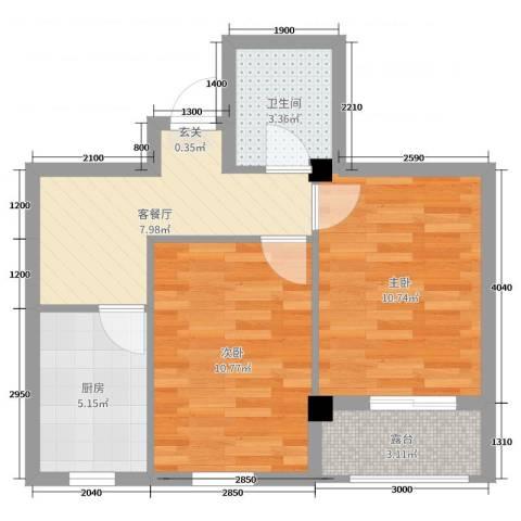 绿城.蓝天林海2室2厅1卫1厨61.00㎡户型图