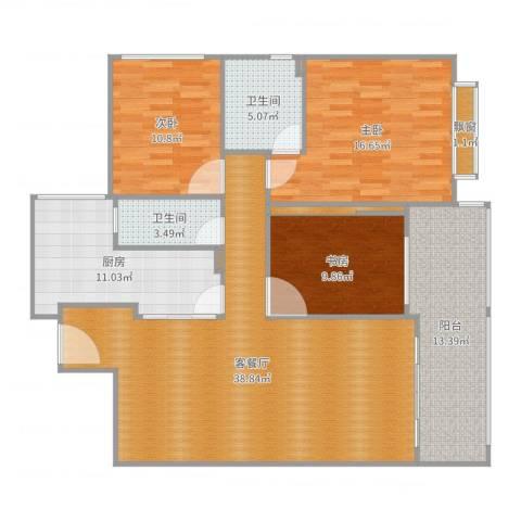 恒达花园3室2厅2卫1厨139.00㎡户型图