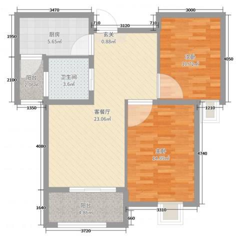 御景龙湾2室2厅1卫1厨80.00㎡户型图