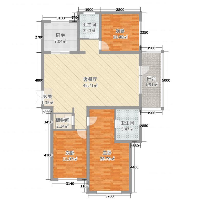 华润威海湾九里175.00㎡二期19#楼D6户型3室3厅2卫1厨